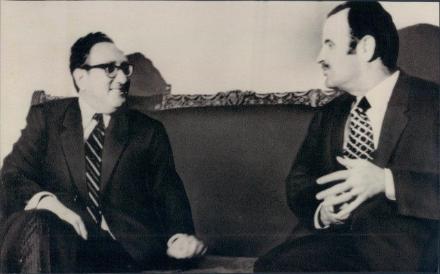 """Henry Kissinger, fomer Secretary of State, had to endure several """"Middle East History"""" lessons when he visited late Syrian Presidente Hafez al-Assad. It whas him who convinced Israel to give back the ciity of Quneitra to Syria after the 1973 October war. @All Rights Reserved"""