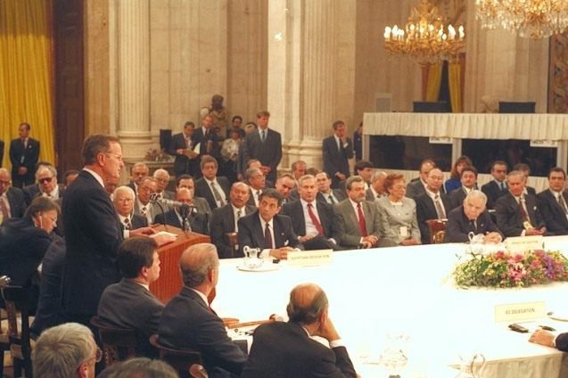 Former President George H. W. Bush addressing the Madrid Peace Conference on the inauguration day, October 30, 1991. @All Rights Reserved
