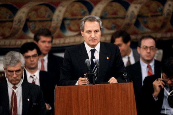 Farouk al-Sharaa, the former Syrian Foreign Affairs Ministers in the Madrid Peace Conference of 1991. He caused an uproar when he exhibited a picture showing the then Israeli Prime Minister, Yitzhak Shamir, when he was on a wanted terrorist list of the British Mandate authorities of Palestine. @All Rights Reserved