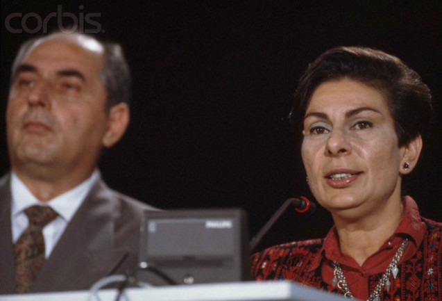 30 Oct 1991, Spain --- Palestinian delegates Hanan Ashrawi (R) and Faisal Husseini attend the 1991 Madrid Peace Conference. The 1991 conference for the Middle East was the first time Israel, Syria, Lebanon, Jordan, and the Palestinians all came together for negotiations. | Location: Madrid, Spain. --- Image by @Pascal Le Segretain/Sygma/Corbis