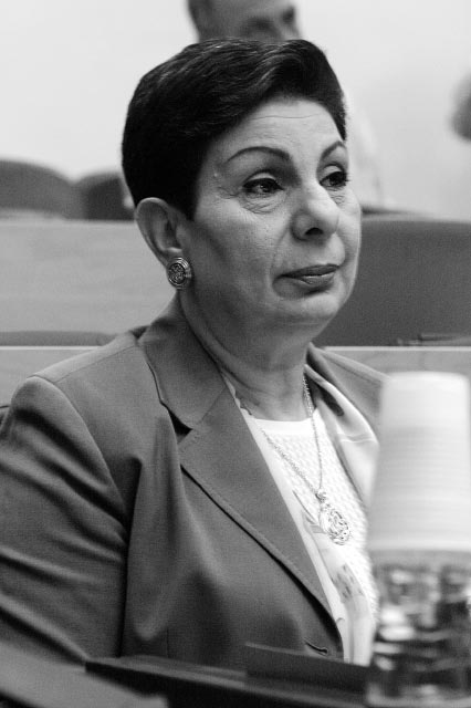 Ashrawi is a member of Palestinian Prime Minister Salam Fayyad's Third Way party.[1] She is the first woman elected to the Palestinian National Council.[2] Ashrawi serves on the Advisory Board of several international and local organizations including the World Bank Middle East and North Africa (MENA), United Nations Research Institute for Social Development (UNRISD) and the International Human Rights Council.[3] @All Rights Reserved