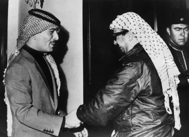 PLO leader Arafat and Jordan King Husayn after the conflict @Photo Keystone/HH