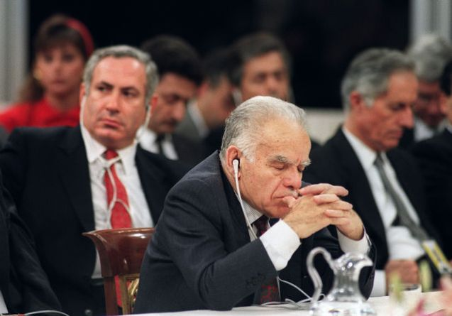 Yitzhak Shamir attends a session of the Middle East peace conference, in this file photograph from October 31, 1991. Photographer:  @Patrick Baz/AFP/Getty Images