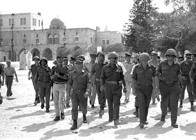 Six day war. Defense Minister Moshe Dayan, Chief of staff Yitzhak Rabin, Gen. Rehavam Zeevi (R) And Gen. Narkis in the old city of Jerusalem. @DR