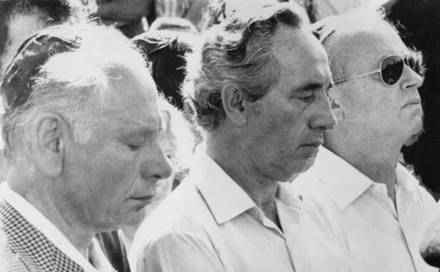 From left, Ben-Zion Netanyahu, Defense Minister Shimon Peres, and Prime Minister Yitzhak Rabin at the funeral of Jonathan Netanyahu, who was killed rescuing Israeli hostages.  @(associated press/file 1976)  - See more at: http://destination-yisrael.biblesearchers.com/destination-yisrael/2012/05/benzion-netanyahu-in-the-1940s-seeking-american-support-for-a-homeland-for-the-jews-in-israel-interview-by-maariv-reporter.html#sthash.ewry5ANx.dpuf