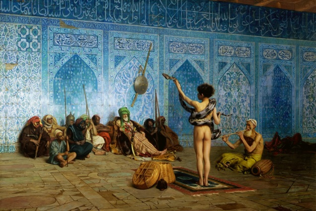 The cover of Said's Orientalism contained a detail from the 19th-century Orientalist painting The Snake Charmer,  @ Jean-Léon Gérôme (1824–1904).