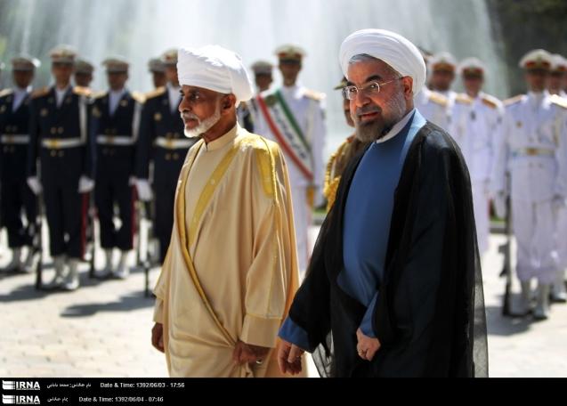 O Sultão Qaboos e o novo Presidente do Irão, Hassan Rouhani: Omã continua a servir de mediador na região. @IRNA News Agency