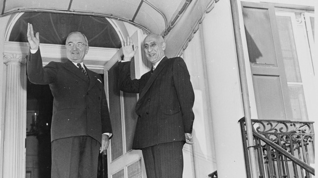 U.S. President Harry Truman, left, and Iranian Prime Minister Mohammad Mossadegh, right, stand together on Oct. 23, 1951. The coup d'état that led to the democratically elected Mossadegh's ouster two years later was orchestrated by the U.S. CIA, newly declassified documents confirm. @Abbie Rowe via Wikimedia Commons)