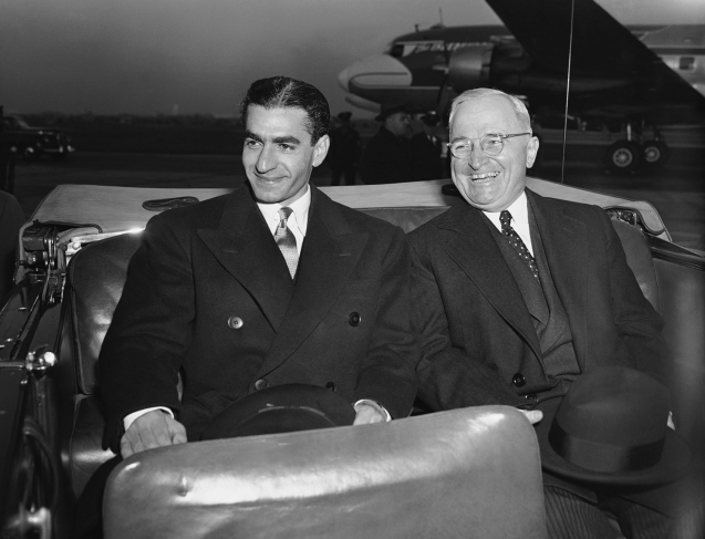 he Shah of Iran, Reza Pahlavi, and President Harry Truman leave Washington National Airport together as the Shah begins a monthlong state visit. November, 1949.  @AP.