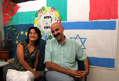 Dalia Peretz (L) the Israeli Jewish principal and Alla Khatib, the Israeli Arab principal of the Max Rayne School - A Hand in Hand School for Bilingual Education in Jerusalem during an interview with Sascha Zastiral of Der Spiegel at their school's office, Sep. 04, 2006. @ photo: Amit Shabi