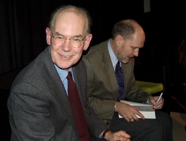 John Mearsheimer eStephen Walt (à esquerda) e autores do livro The Israel Lobby and U.S. Foreign Policy @Maarten Derkse