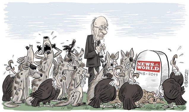 Em 2010, depois de mais um escândalo, envolvendo escutas telefónicas, o magnata Rupert Murdoch (no cartoon) encerrou o seu jornal News of the World, fundado 168 anos antes. © Cagle Cartoons