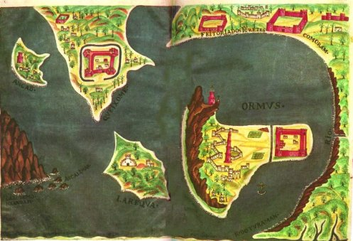 17th Century Portuguese Map of the bell-shaped island of Hormuz © Direitos Reservados | All Rights Reserved