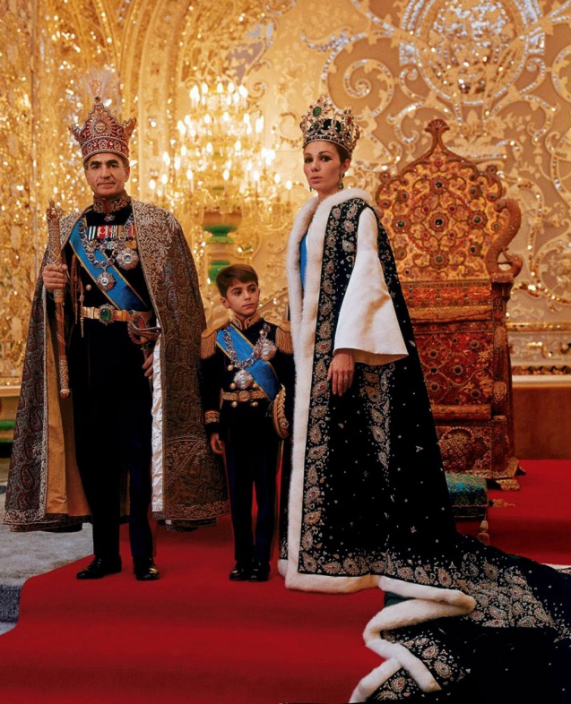 The Iranian Shah with Farah and Reza Pahlavi, the eldest son and heir prince. @ALL Rights Reserved