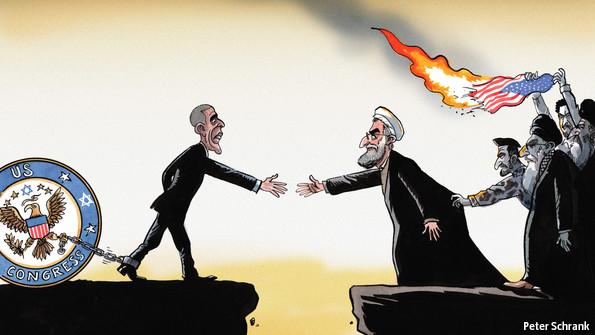 Os presidentes Barack Obama e Hassan Rouhani enfrentam forças de bloqueio, nos Estados Unidos e no Irão, que dificultam a reconciliação mútua. @Peter Schrank | The Economist