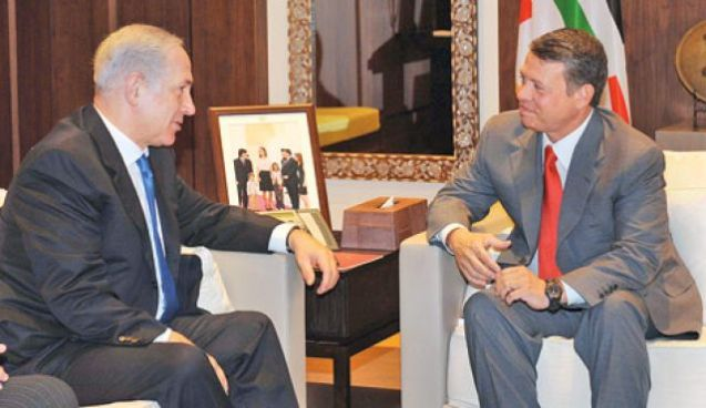 "Abdullah II with Benyamin Netanyahu, the prime minister of Israel: relations between the two countries that signed a peace treaty in 1994 have not bee easy due to the conflict with the Palestinians; but the son of Hussein bin Talal keeps on being ""protected"", like his father's regime, by the powerful neighbour state @ All Rights Reserved"