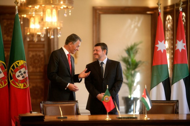 """Portuguese President Cavaco Silva and King Abdullah II, who said: """"I hope this common heritage will enable us to build better bridges of cooperation and understanding. It should inspire us to accept each other, to embrace what is common and to respect differences and to overcome all misconceptions."""" @All Rights Reserved"""