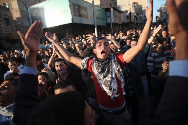 Jordanians in the northern city of Irbid, about 60 miles from Amman, the capital, shouted slogans Thursday in the third night of protests against King Abdullah II. IRBID, Jordan — Thousands of young men poured into the streets of Jordan's cities and towns in November 2012 in protests, most of which involved exchanges of rocks and tear gas. The demonstrations were set off by anger at a reduction in public fuel subsidies. For the first time they also called for ending the rule of King Abdullah II. @ Tara Todras-Whitehill | The New York Times