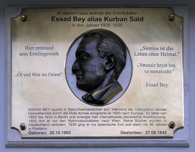 Memorial plaque, Essad Bey, Fasanenstraße 72, Berlin-Charlottenburg, Germany @DR
