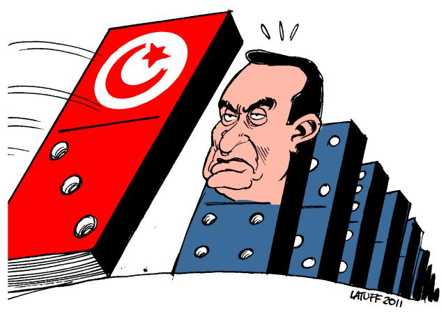 Mubarak e o efeito dominó gerado pela Tunísia. @Latuff