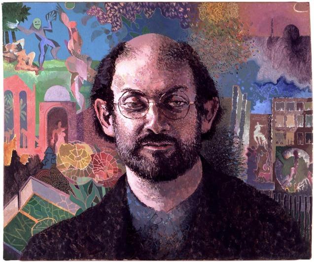 © Salman Rushdie, numa pintura a óleo, 1992, colecção privada © tomphillips.co.uk
