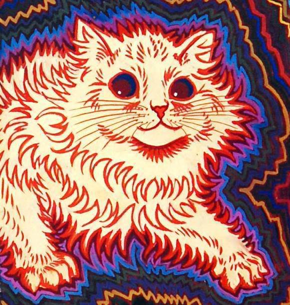 """Characteristic changes in the art began to occur, changes common to schizophrenic artists. Jagged lines of bright color began emanating from his feline subjects. The outlines of the cats became severe and spiky, and their outlines persisted well throughout the sketches, as if they were throwing off energy."" © endofthegame.net"