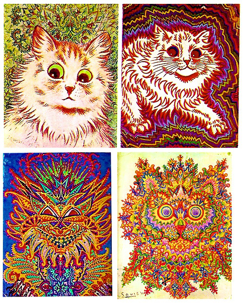 Louis Wain was an English artist known for drawing cats, going crazy, and then drawing more cats. Later in his life he developed schizophrenia and psychologists believe that his descent into madness can be clearly seen in his cat drawings. © endofthegame.net
