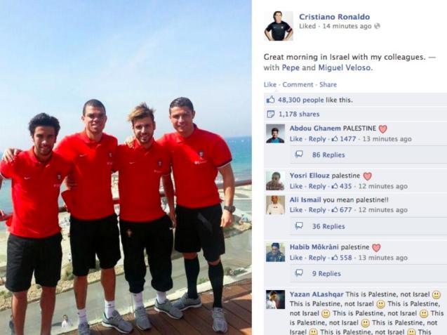A foto e a legenda que geraram polémica na página de Facebook de Cristiano Ronaldo. © Direitos Reservados | All Rights Reserved