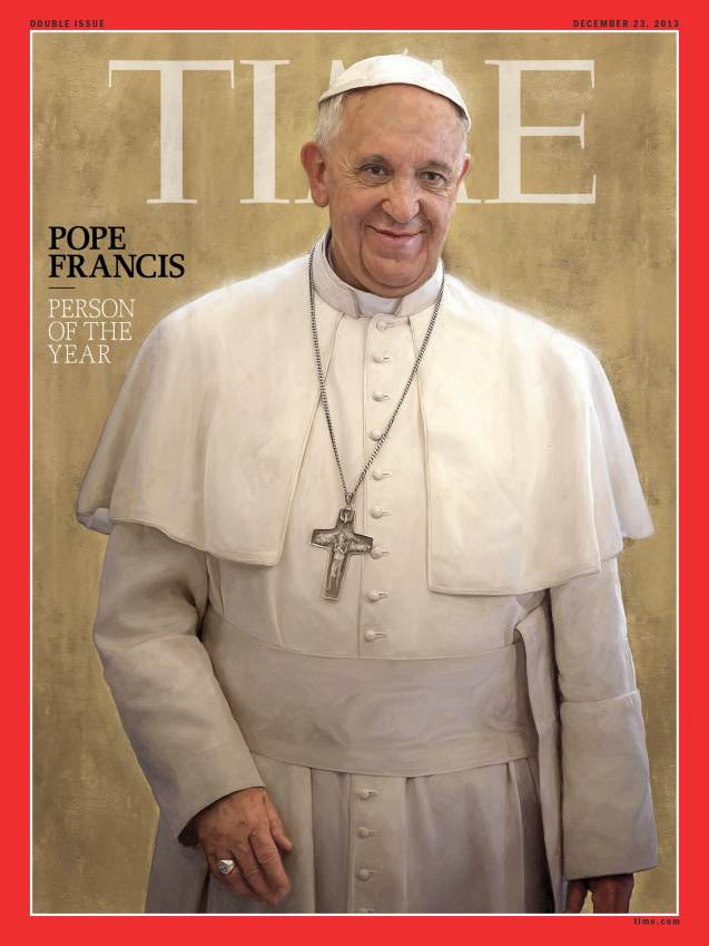 "Papa has become the first pontiff to grace the cover of Rolling Stone magazine. It is a typical picture of the pope, smiling and waving, above the cover line, ""The times they are a-changin.'"" This is one popular pope. Only last month he was smiling from the cover of TIME as its 2013 ""person of the year."" And that was his second Time cover appearance last year. But Rolling Stone is a rock music magazine, so it is a landmark decision to feature him. (No jokes then about a Rolling Stone gathers no mass). Inside the magazine is a 7,700-word profile by contributing editor Mark Binelli, who writes: ""In less than a year since his papacy began, Pope Francis has done much to separate himself from past popes and establish himself as a people's pope."""