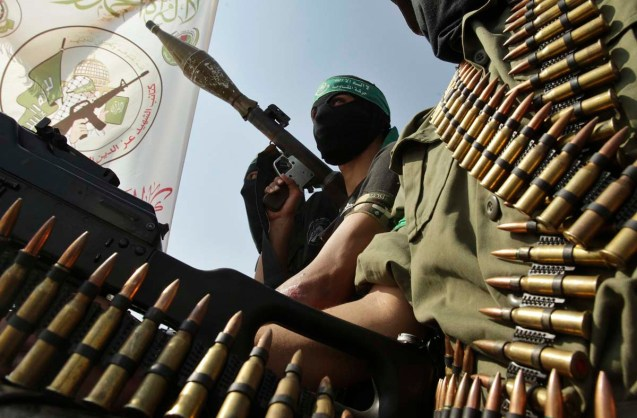 Hamas militants take part in a march in Rafah in the southern Gaza Strip