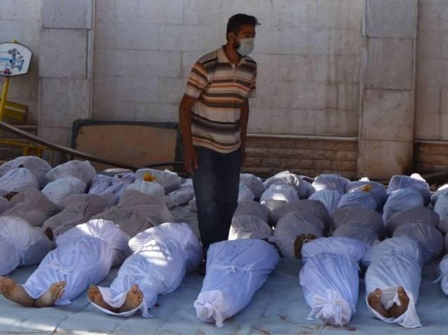 Agosto 2013: Vítimas de um ataque com armas químicas em Ghouta, no sector oriental de Damasco. @REUTERS