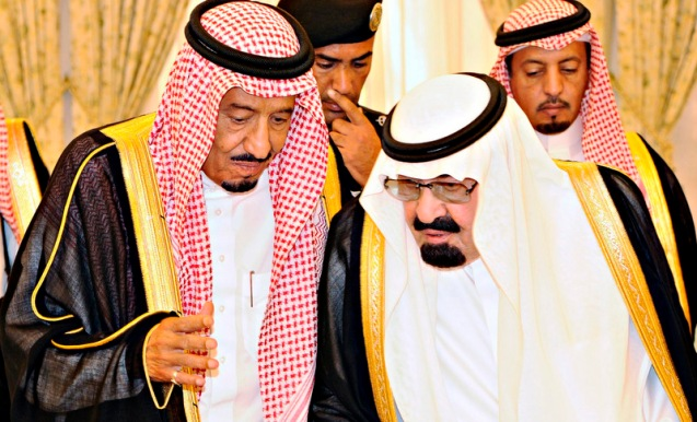 Saudi King Abdullah talks with newly appointed Saudi Crown Prince Salman bin Abdel-Aziz in Taif