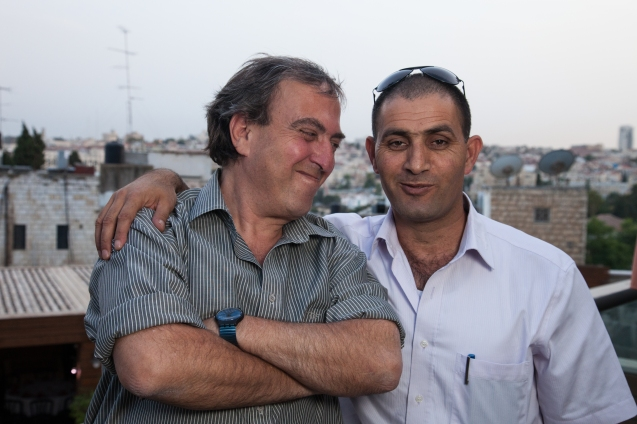 "Israeli Rami Elhanan and Palestinian Bassam Aramin are more than friends united by grief. ""We are a family"", says the son-in-law of late ""peace general"" Matti Peled (on the left), mentioning that one of his sons is a member of Combatants for Peace and the other wanted to go to the IDF but refused to serve at checkpoints, ""to avoid searching and interrogating uncle Bassam"". @ Udi Goren"