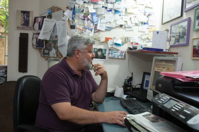 The office of Gershon Baskin, co-founder of IPCRI, who tirelessly worked to release Israeli soldier Gilad Shalit from long captivity at the hands of Hamas. The veteran peace activist is always working. If someone in distress calls him at dawn, for instance, he leaves everything behind and goes wherever he has to, with little sleep. @ Udi Goren