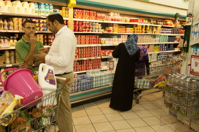 Close to Bat Ayin, part of the Gush Etzion settlements bloc situated between Jerusalem and Hebron, there is a supermarket where Jews and Arabs go shopping. It is a place of silence more than of dialogue. © Udi Goren