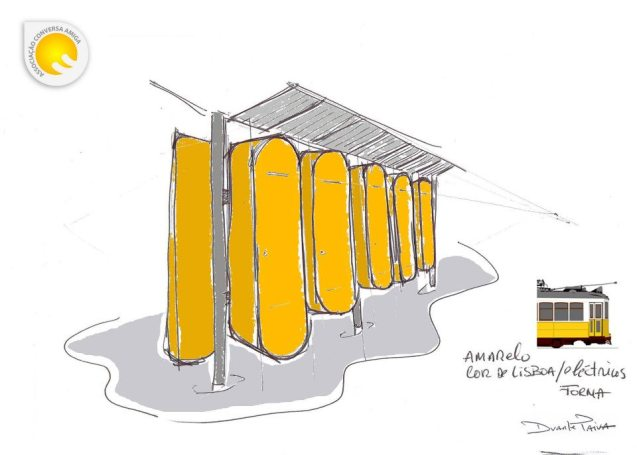 Duarte Paiva's initial project: the idea was to create lockers shaped like the traditional Lisbon trams and yellow, the colour of the city. @ACA (Associação Conversa Amiga)