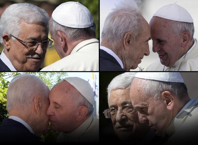 Mahmoud Abbas, Shimon Peres e o Papa Francisco, na reunião de oração nos jardins do Vaticano. © ANSA