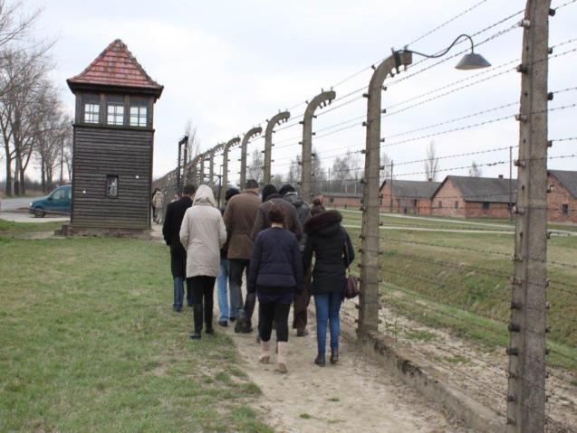 The group of Palestinian students visiting Auschwitz camp © Courtesy of Mohammed Dajani