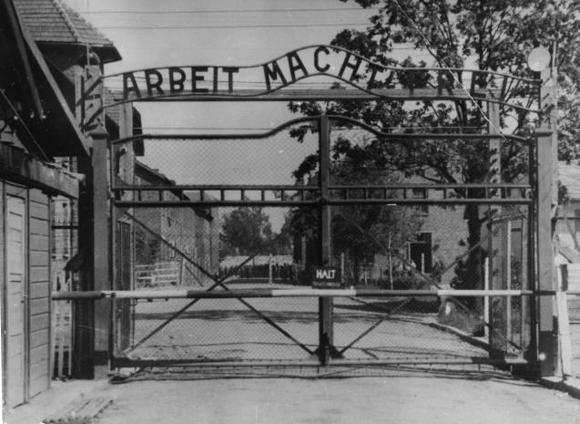 "This undated file image shows the main gate of the Nazi's Auschwitz concentration camp in Poland, which was liberated by the Russians in January 1945. Writing over the gate reads: ""Arbeit macht frei"" -- or ""Work Sets You Free."" © NBC News"