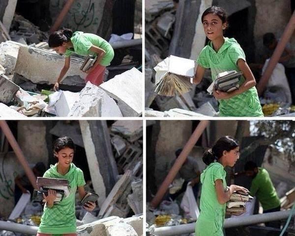 Uma menina palestiniana em Gaza tenta recuperar os seus livros depois de um ataque israelita. Esta foto foi partilhada por milhares de pessoas nas redes sociais. © Direitos Reservados | All Rights Reserved