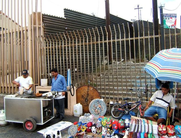 US-Mexico barrier at Tijuana pedestrian border crossing. ©