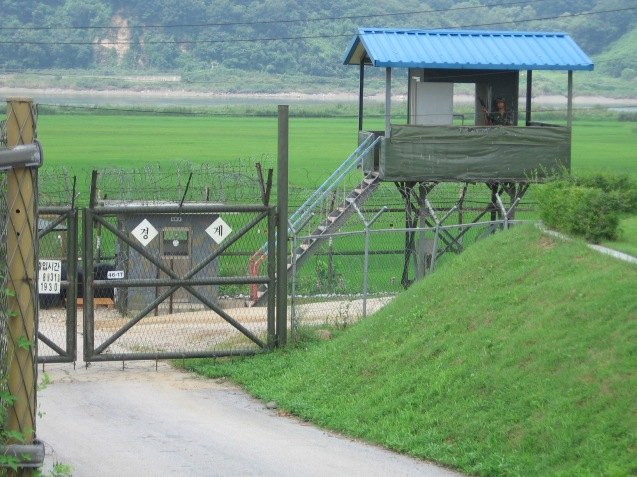 A South Korean checkpoint in the DMZ (Viewed from the North Korean side), August 17th 2005. ©