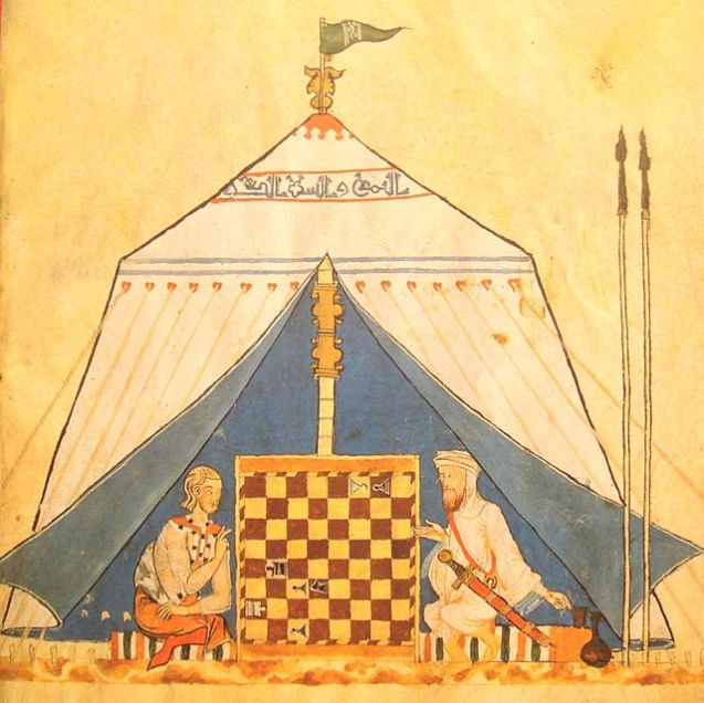 From the 11th to 13th centuries, medieval Europe absorbed knowledge from Islamic civilization, which was then at its cultural peak. and Muslim playing chess in al-Andalus, from The Book of Games of Alfonso X, el Sabio, c. 1285. The game of chess originated in India, but was transmitted to Europe by the Islamic world.[1] ©