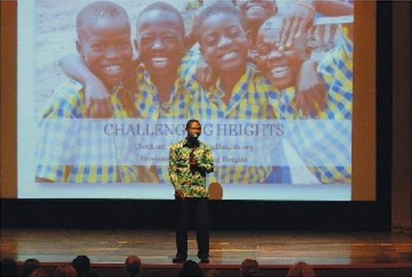 James Kofi Annan of Challenging Heights in Ghana, West Africa, talks to students at Manchester Junior-Senior High School @ Shaun Tilghman