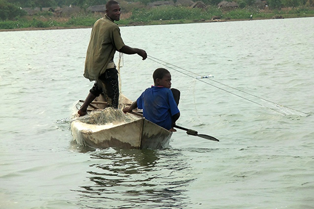 "Child slaves in Lake Volta, Ghana: an image from the documentary ""Fisher of Kids"" which portrays the inspiring story of James Kofi Annan @ All Rights Reserved"