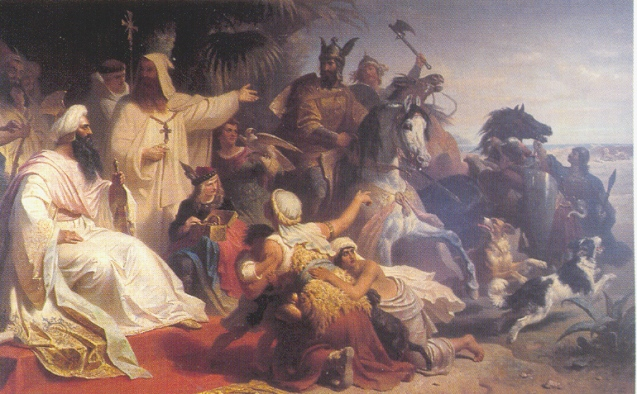 Harun al-Rashid receiving a delegation sent by Charlemagne at his court ©