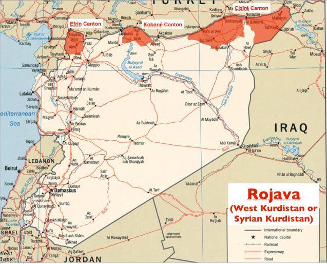 """Rojava ou o mapa do """"Curdistão sírio"""" ©geocurrents.info/geopolitics"""