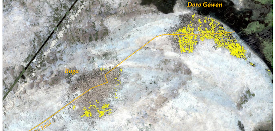 This satellite image shows the neighbouring towns of Baga and Doron Baga (named here as Doro Gowon) on 7 January 2015. The yellow indicates destroyed buildings following the Boko Haram attack. © Amnistia Internacional