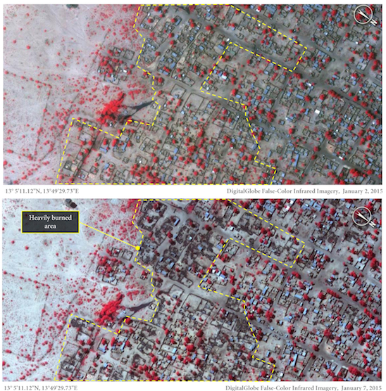 A whole neighbourhood has been burnt down in Baga between 2 and 7 January, as the satellite images above demonstrate. © Am