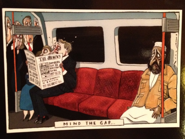 "Originally published by Morten Morland in July 2005, ""Mind the Gap…"" satirizes the kind of paranoia prevalent in some countries during a period in which public perceptions of British Muslims were significantly affected by the attacks of 7 July. © muslimpoliticalparticipation.org/"